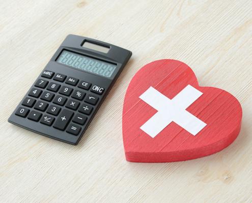 a heart and calulator